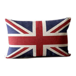 Linen lumbar pillow features union jack flag - Etsy shop Ideccor