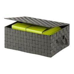 Hinged Lid Woven Storage Box, Salt & Pepper - Dimensions:  12 in L x 17 in W x 7 in H /30.5 cm L x 43.2 cm W x 17.8 cm H