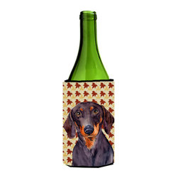 Caroline's Treasures - Dachshund Fall Leaves Portrait Wine Bottle Koozie Hugger LH9088LITERK - Dachshund Fall Leaves Portrait Wine Bottle Koozie Hugger LH9088LITERK Fits 750 ml. wine or other beverage bottles. Fits 24 oz. cans or pint bottles. Great collapsible koozie for large cans of beer, Energy Drinks or large Iced Tea beverages. Great to keep track of your beverage and add a bit of flair to a gathering. Wash the hugger in your washing machine. Design will not come off.