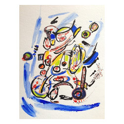 """Bike Ride, Original, Mixed Media - """"Bike Ride *** """"""""You might as well ask an artist to explain his art, or ask a poet to explain his poem. It defeats the purpose. The meaning is only clear through the search  Rick Riordan *** Watercolor and Ink on 185lb Acid Free Paper"""""""