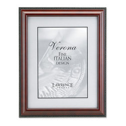 Lawrence Frames - Walnut Wood 4x6 Picture Frame - Gold Bead Design - High quality classic walnut wood frame with delicate gold beading along outside edge.  Side panels of this frame have a black painted satin finish.  High quality black velvet backing including an easel for vertical or horizontal table top display and hangers for wall mounting.  Comes individually boxed.