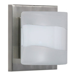 Besa Lighting - Besa Lighting 1WS-787399 Paolo 1 Light ADA Compliant Halogen Bathroom Sconce wit - Contemporary Paolo enclosed half-cylinder design features handcrafted glass. This modern wall light offers flexible design potential for a variety of bath/vanity decorating schemes. Mount horizontally or vertically. ADA-Compliant.. Our Opal Frost glass is a soft white cased glass that can suit any classic or modern decor. Opal has a very tranquil glow that is pleasing in appearance, while the frosted accent is stylish and sets this d�cor apart. The smooth satin finishes on the clear outer layer is a result of an extensive etching process. This blown glass is handcrafted by a skilled artisan, utilizing century-old techniques passed down from generation to generation. The sconce fixture is equipped with plated steel square lampholders mounted to linear rectangular tubing, and a low profile square canopy cover.Features: