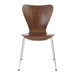 "Eurostyle - Tendy Pro Stack Chair (Set Of 4)-Wal/Chr - Well, hello there incredibly designed, walnut veneered, stackable set of modern chairs. You had us at ""steel base legs."" The juxtaposition of natural wood mixed with the steel accents makes this the sexiest set of chairs your home or office has ever seen."