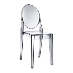 Modway Furniture - Modway Casper Dining Side Chair in Smoked Clear - Dining Side Chair in Smoked Clear belongs to Casper Collection by Modway Combine artistic endeavors into a unified vision of harmony and grace with the ethereal Casper Chair. Allow bursts of creative energy to reach every aspect of your contemporary living space as this masterpiece reinvents your surroundings. Surprisingly sturdy and durable, the Casper Chair is appropriate for any room or outdoor setting. Pure perception awaits, as shining moments of brilliance turn visual vacuums into new realms of transcendence. Set Includes: One - Casper Side Chair Side Chair (1)