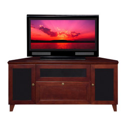 "Furnitech - 61"" Shaker Style TV Media Corner Console - 61"" Shaker Style TV Media Corner Console for Flat Screen and Audio Video Installations"