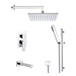Remer - Square Themed Tub and Shower Faucet, Matte Black - Add this high-end, contemporary tub and shower faucet to your already modern & contemporary personal bath.