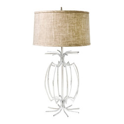 """Worlds Away - Worlds Away Champagne Silver Leafed Iron Lamp Base CAGE S - Champagne silver leafed iron lamp base. Clear cord. Ships with 15"""" linen oatmeal shade as shown. Ul approved for one 60 watt bulb."""