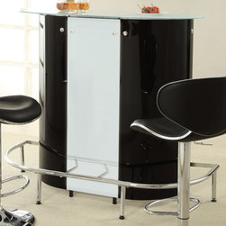 "Coaster - Bar Table, Black/White - Impress your guests with this contemporary bar unit. With a unique kidney-shaped body in a black and white acrylic, this bar unit offers plenty of storage, a stemware rack, a wrap around chrome footrest in the front and a frosted tempered glass counter surface. This modern piece is sure to make a statement in your entertainment room.; Contemporary Style; Finish/Color: Black/white/Chrome; Dimensions: 47.25""L x 22""W x 43.25""H"