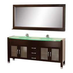 "Wyndham - Daytona 71"" Double Bathroom Vanity Set - Espresso/Green Glass - The Daytona 71"" Double Bathroom Vanity Set - a modern classic with elegant, contemporary lines. This beautiful centerpiece, made in solid, eco-friendly zero emissions wood, comes complete with mirror and choice of counter for any decor. From fully extending drawer glides and soft-close doors to the 3/4"" glass or marble counter, quality comes first, like all Wyndham Collection products. Doors are made with fully framed glass inserts, and back paneling is standard. Available in gorgeous contemporary Cherry or rich, warm Espresso (a true Espresso that's not almost black to cover inferior wood imperfections). Transform your bathroom into a talking point with this Wyndham Collection original design, only available in limited numbers. All counters are pre-drilled for single-hole faucets, but stone counters may have additional holes drilled on-site.;Features: Constructed of environmentally friendly, zero emissions solid Oak hardwood, engineered to prevent warping and last a lifetime;12-stage wood preparation, sanding, painting and finishing process;Minimal assembly required;Highly water-resistant low V.O.C. sealed finish;Available pre-drilled for single-hole ;Unique and striking contemporary design;Practical Floor-Standing Design;Deep doweled drawers;Fully extending side-mount drawer slides;Soft-close concealed door hinges;Single-hole faucet mount ;Metal hardware with brushed chrome finish;Plenty of storage space;Brushed steel leg accents;Plenty of counter space;Includes drain and P-traps for easy assembly;Includes matching mirror;4 doors, 3 drawers;Weight: 380 lbs.;Dimensions: Vanity 70-3/4 x 22 x 33-1/2;Mirror 70-3/4 x 5 x 32"