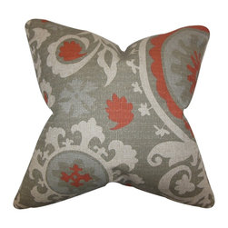 """The Pillow Collection - Wella Floral Pillow Gray 18"""" x 18"""" - Liven up your space with this fancy decor pillow. Highlighting a unique floral pattern in shades of gray and red, this toss pillow lends texture to your home. Spice up your living room or bedroom with this square pillow. Made with a blend of high-quality materials: 81% cotton and 19% rayon. Hidden zipper closure for easy cover removal.  Knife edge finish on all four sides.  Reversible pillow with the same fabric on the back side.  Spot cleaning suggested."""