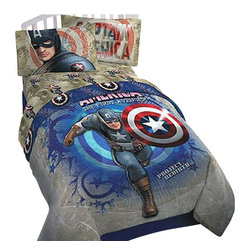 Store51 LLC - Captain America Marvel Comics Twin-Single Bedding Set - FEATURES: