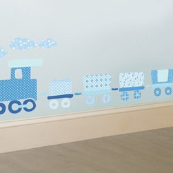 FunToSee - Nursery Train Wall  Decal Blue - 100% Vinyl.