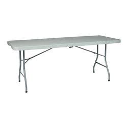 Office Star - Office Star Multi Purpose Center Fold Table in White - Office Star - Folding Tables - BT6FQW - 6' Resin Multi Purpose Center Fold Table with Wheels