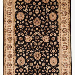 Rug Knots - Hand Knotted Chobi Ziegler Oriental Black Area Rug with Borders 6x9 - Add elegance to any space by displaying this classic Oriental rug. Made completely by hand, every fiber in this rug is truly unique. Traditional design elements such as flowers, pomegranates, husks, and vines, are placed across the rug's canvas in a symmetrical, balanced method. Four large, distinct floral shapes dominate the rug's interior, while a small centerpiece serves as a focal point. The rug's intricate borders feature a light beige backdrop which contrasts beautifully with the rug's dark center area.