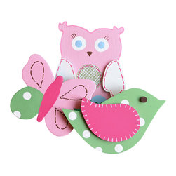 """Little Elephant Company - Hayley Garden Quilt Clips set of 3 - Beautiful quilt clips that transform your treasured baby quilts and comforters into charming hanging artwork for your child's room.    Very easy to use.  ***  The set is three (3) beautifully detailed hand painted quilt clips.      The bird is meadow green with white dots and a fuschia wing that is detailed with light pink stitches.     The butterfly is light pink with a fuschia body and has meadow green, white and iron oxide details on the wings.     And the owl is light pink, outlined with bubblegum pink, with white wings that have fuschia stitches. Her eyes and feet are light blue, and her belly is meadow green gingham with fuschia stitches.     These quilt clips are perfect for garden and girl themed bedding sets.     Measurements are:  - bird2.75 in. x 4.5 in.  - butterfly 3 in. x 3.5 in.  - owl 3.25 in. x 3.63 in.     How many quilt clips do I need?  - For a quilt that is still stiff and new, you will only need 2 quilt clips for up to 36 inches wide. Many people will do 3 quilt clips just for the look, though. For a quilt that has been washed and is pliable, 2 clips will be sufficient for up to 36 inches, but you may want 3 clips to help keep the center from sagging. For a quilt 36 to 42 inches wide, use 3 to 4 clips. For a quilt 42 to 50 inches, use 4 to 5 clips.    How do the quilt clips work?  - The only hardware is needed is a long nail, approximately 1 1/2"""" to 2 1/2"""" in length.  - Measure how far apart you would like the clips to be.  - Decide how high on the wall they will be placed and mark your first spot. Using a level, measure out and mark the second spot.  - Place your nails into the wall at a 45 degree angle. IMPORTANT: If your nail is not at a 45 degree angle, the clip may slip off the nail.  - Clip the quilt and slide the back of the clip over the nail.    What are the clips made of?  - Designs are made of layered wood. A few of our designs also have layered felt.   - Clips on the bac"""