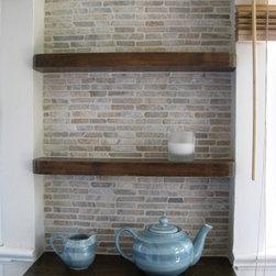 Java Sticks Installations - Partial kitchen wall of Zen Paradise Java Sticks in Onyx, natural stone tiles, white, stone, tiles, onyx, back splash, kitchen http://www.zenparadise.net/