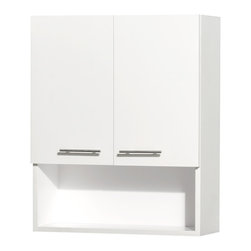 Wyndham Collection - Centra Wall-Mounted Bathroom Storage Cabinet in White (Two-Door) - The Centra wall cabinet is a great way to add a little storage space to your bathroom oasis. This ergonomic and elegant wall cabinet is designed to be placed over the toilet or used as extra wall storage just where you need it most. Soft-close doors ensure peace and quiet in your bathroom oasis, and brushed chrome hardware accents complete the look and compliment any modern bathroom setting.