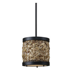 Uttermost - Uttermost 21995 Calameae 1 Light Wooven Natural Rattan Mini Pendant - Woven Natural Rattan with Aged Black Details and a Frosted Glass Diffuser