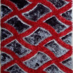 ~5' ft. x 7' ft. Shaggy Grey with Red Indoor Room Hand-tufted Area Rug - This Rug Measures Approximate Size(Width X Length):~5 X 7' ft. (152 cm x 214 cm) / No Assembly Required