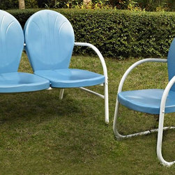 Crosley Furniture - 2-Pc Conversation Seating Set - Includes loveseat and chair. Easy to assemble. UV resistant. ISTA 3A certified. Warranty: 90 days. Made from sturdy steel. Sky blue color. Assembly required. Loveseat: 41.13 in. W x 29.5 in. D x 34.5 in. H (29 lbs.). Chair: 28.5 in. W x 21 in. D x 34.5 in. H (15 lbs.). Overall weight: 44 lbs.Relax outside for hours on our nostalgically inspired Griffith outdoor furniture. Kick back while you reminisce in this seating set, designed to withstand the hottest of summer days and other harsh conditions. The furnitures complement your outdoor accessories.