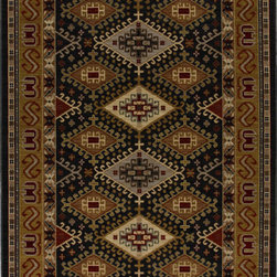 "Karastan - Karastan Crossroads 38260-15104 (Addison Black) 3'3"" x 5'6"" Rug - Shades of classic red, warm honey, indigo and black are featured in this Studio by Karastan(r) collection. Accents of dove gray, terra cotta, sage and ivory highlight the tribal Suzani's, classic Persian panels, timeless Sarouk's, transitional florals and modern ikats that make up this collection. Made of New Zealand woven wool, the Crossroads collection offers a wide variety of decorating possibilities in plush, durable constructions that will meet the demands of today's active lifestyles."
