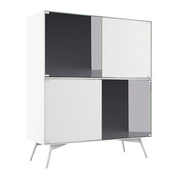 Modloft - Christopher Highboard, White Matte-Slate Mirror - The Christopher Highboard Buffet offers a graceful storage solution thanks to a 28-bottle wine compartment, three standard drawers, adjustable shelving and plenty of space for all of your dining accessories. Four doors finished in alternating matte lacquer and slate mirror combine with European push-open door hardware and angled powder coated legs for the embodiment of utility chic. Available in a two-tone matte lacquer finishes, including Asphalt exterior with Nile Blue interior or White exterior with Steeple Gray interior. Arrives assembled. Imported.