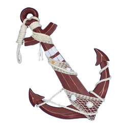 """Handcrafted Nautical Decor - Wooden Rustic Red Anchor with Hook Rope and Shells 24"""" - Nautical Decor - An icon of sailing past and present, the nautical anchor is both a necessary piece of equipment aboard ship as well as a talisman of good luck for all sailors who step aboard. This delightful Wooden Rustic Red Anchor with Hook Rope and Shells 24"""" carries with it that same enchanting feel, bringing the wonder and magic of the sea into your home or office. No matter where you choose to place one of these fabulous anchors, enjoy its chic nautical style, historic significance, and symbolic wonder each and every day."""