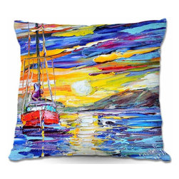 DiaNoche Designs - Pillow Woven Poplin - Sunrise Sailing - Toss this decorative pillow on any bed, sofa or chair, and add personality to your chic and stylish decor. Lay your head against your new art and relax! Made of woven Poly-Poplin.  Includes a cushy supportive pillow insert, zipped inside. Dye Sublimation printing adheres the ink to the material for long life and durability. Double Sided Print, Machine Washable, Product may vary slightly from image.