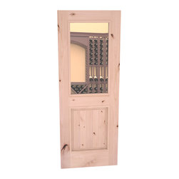 "CellarSelect™ Wine Cellar Door: Chardonnay Half Lite (Unfinished Alder) - This Knotty Alder 30"" x 80"" door is our best selling style. Ships to you pre-hung and ready to install. Made with engineered stiles using solid butcher block type lumber cores with 1/8"" thick solid Alder veneers. High R value maes this door ideal for insulated wine cellars. Available in spare top, eyebrow arch or full-radius arch."