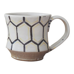Convivial Production - Rustic Hexagon Cups, Sun - Grab a cup for your early morning coffee, sit and enjoy the warmth it brings. Each of these cups are wheel-thrown and hand-painted. They are little rustic gems that will give new life to your cabinets.