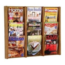 Wooden Mallet - Wall Mount Oak & Acrylic Magazine Display Rac - Finish: Medium OakIdeal for office reception areas, salons, hotels and interstate rest stops, this wall mount magazine display rack is a beautiful way to keep brochures and other literature organized and easily accessible. The unit features nine slots for magazines and includes optional dividers to allow the display of smaller brochures. The piece is available in your choice of finish options. Furniture quality construction with solid oak uprights and clear acrylic pocket front panels. Pre-drilled with hardware included for simple wall mounting. Available wood finishes perfectly compliment Wooden Mallet's Dakota Wave furniture collections. Pictured in Medium Oak. No assembly required. Optional removable dividers not included give you the versatility to display as many 4 in. brochures as you need in which ever location you prefer and they can easily be changed to adjust for your future needs. 1-Year warrantyDimensions. 3 in. D x 31.5 in. W x 26.25 in. H (17 lbs.). Removable Divider: 5 in. D x 8 in. W x 5 in. H (1 lb.)Wooden Mallet's Acrylic & Oak Wall Displays are specifically designed to hold single sheets of paper without drooping. This beautiful wall mountable rack will showcase your literature in style. Our innovative overlapping shelves allow you to display more literature in less space.
