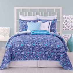 Trina Turk - Trina Turk Caprice Medallion Coverlet - This new coverlet collection from Trina Turk is a natural! The Caprice Medallion coverlet is inspired by the iconic blue tiles of the remote Greek Island.