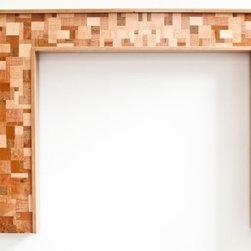 "Black Cherry Fireplace Mantel ""Mosaic"" design series - ""Mosaic"" fireplace mantel in Black Cherry with mosaic pattern in Curly Maple, Mahgany, Pepperwood, Zenrano wood, , Walnut, Elm and other burls. Andre Aloshine"