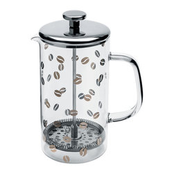 Alessi Coffee and Tea - Alessi Coffee and Tea Mame Coffee Press - Press filter coffee maker or infuser in 18/10 stainless steel and heat resistant glass, silk screened. Manufactured by Alessi.Designed in 2013.