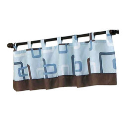 Sweet Jojo Designs - Geo Blue Valance - The Geo Blue Valance by Sweet Jojo Designs is a gorgeous window treatment that will add a designer's touch to any nursery. This valance softens the look of the window and obscures pulled up blinds. It will coordinate nicely with your Sweet Jojo Designs bedding or can be used as an accent with your own room design.