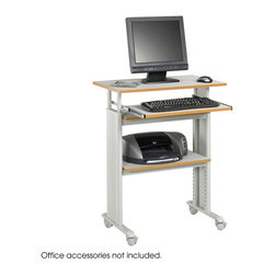 "Safco - Muv Stand-up Adjustable Height Workstation - Grey - Get a Muv on height! This workstation adjusts in height from 35"" to 49"" for stand-up computer work. Decorative molded side panels hide computer cables for a clean appearance. Durable powder-coated steel frame. Keyboard shelf extends 9 3/4"" and retracts under the worksurface when not in use. Mobile on four casters (2 locking). Some assembly required.; Features: Material: Steel (frame), Compressed Wood (Shelves); Color: Grey; Finished Product Weight: 58 lbs.; Assembly Required: Yes; Tools Required: Yes; Limited Lifetime Warranty; Dimensions: 29 1/2""W x 22""D x 35"" to 49""H"