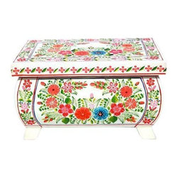 Pre-owned Hand-painted Olinala White Wooden Box with Flowers - This folk art form incorporates elements of pre-Hispanic, European and Chinese traditions which came together in colonial Mexico and continue to develop today. First the wood or gourd surface is coated with a mixture of chĚ_a seed oil, made from the seeds of the Salvia plant, and aje, a waxy fat from an insect. Then a layer of earth is placed on top to absorb the oil. This ‰ŰĎearth varnish‰Űť or lacquer is smoothed out and polished with a stone and the heel of the hand. This process may be repeated a number of times. Pigments can be added to create the background color. Recently, artists have begun to mix the background color in with the oil and have applied it with a brush. After it is dried, which may take several days, the decoration is applied.    There are three types of decoration, painted, incised and inlaid. Painted lacquerware employs pigments mixed with chĚ_a oil and applied with a brush to create pictorial scenes and patterns. Incised lacquerware utilizes negative space and multiple layers of colored lacquer. Decorative motifs are carved away to reveal another color of lacquer. Inlaid lacquerware is also carved. Deeper levels of the wood or gourd are revealed and then meticulously painted. All three techniques have the same final step, another layer of chĚ_a oil and/or aje are applied to the surface which is rubbed with a cloth to create a luster and protect the decorations.