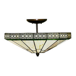 Warehouse of Tiffany - Tiffany-style Ann Pendant - Add elegance to your office or home with this Tiffany-style pendant lamp. This lamp was designed with the same techniques used by Louis Comfort Tiffany during the early 1900s. It features hand-cut, stained-glass pieces that are wrapped in copper foil.