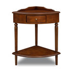 Leick Furniture - Favorite Finds Corner Stand End Table - Bottom display shelf. Dovetailed, solid wood drawer box. Solid hardwoods. Minimal assembly required. 16 in. W x 16 in. D x 30.5 in. HLayers of display surfaces help corners rejoin and expand the room. Small foyers, stair landings, mud rooms or anywhere you can use a temporary place to drop your keys and gloves.