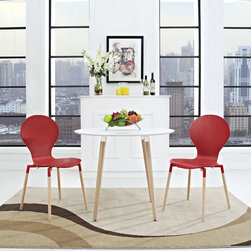 Path Dining Chairs and Table Set of 3 in Red (EEI-1370-RED) - Find your center of balance in the circular path of life. Path's simple fluid lines subtly generate a powerful statement. Sit down, breathe deeply on the fiberboard frame and solid beech wood legs, and let the conversations and ideas begin to flow. Set Includes: One - Path Circular Side Table Two - Path Dining Chairs