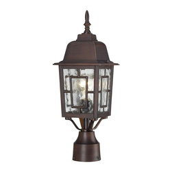 Satco - Satco Banyon Transitional Outdoor Post Lantern X-8294/06 - The Banyon collection has a pleasing architectural aesthetic and features geometric inlays atop its clear water glass.  This collection is offered in three finishes; white, rustic bronze, and textured black.  The Banyon collection with its strong design and handsome finishes will be a welcome addition to any home.