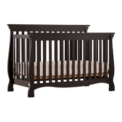 Storkcraft - Carrarra - 4 in 1 Fixed Side Convertible Crib in Black Finish - The Carrara 4 in 1 Fixed Side Convertible Crib by Stork Craft adds class to your nursery! This crib is not only stunning, but it's versatile; as your baby grows simply convert the crib to a toddler bed to a daybed and finally to a full size bed (full size bed rails not included). Designed with safety in mind, this crib has a well built construction made of attractive solid wood and wood products. All sides are stationary and include a three position adjustable mattress support base to add to the security and stability of this simple yet elegant crib. Set-up this timeless piece effortlessly with its simple, easy to follow assembly directions.