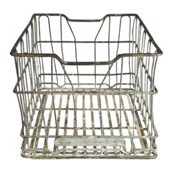 Galvanized Wire Crate - Vintage galvanized wire milk crate from Meadow Gold Dairy in Missouri, circa 1930.