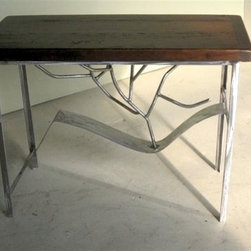 Rustic Modern Sofa Table With Metal Legs - Made by http://www.ecustomfinishes.com