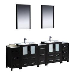 "Fresca - Fresca FVN62-72ES-UNS Torino 84"" Espresso Double Sink Bathroom Vanity W/ 3 Side - Fresca FVN62-72ES-UNS Torino 84"" Espresso Modern Double Sink Bathroom Vanity W/ 3 Side Cabinets & Integrated Sinks"