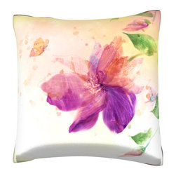 Custom Photo Factory - Purple Flower Lily Pillow.  Polyester Velour Throw Pillow - Purple Flower Lily Pillow. 18 Inches x 18  Inches.  Made in Los Angeles, CA, Set includes: One (1) pillow. Pattern: Full color dye sublimation art print. Cover closure: Concealed zipper. Cover materials: 100-percent polyester velour. Fill materials: Non-allergenic 100-percent polyester. Pillow shape: Square. Dimensions: 18.45 inches wide x 18.45 inches long. Care instructions: Machine washable