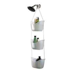 "Umbra - Umbra Bask 3 Baskets Shower Caddy - The Bask shower caddy in translucent white from Umbra is a new, fun way to hold your shampoo, conditioner and other bath products. This caddy is a set of three polypropylene caddies, suspended with a stainless steel ball chain and 2 hooks for either over the shower head or the curtain rod. The baskets have small holes in the bottom to allow water to drain through, keeping the baskets free from water and scum build up. The Bask Shower caddy is 36.25"" long fully extended, allowing for plenty of space in between baskets for all size bottles. The Bask Shower Caddy is great for adult and children's bathrooms alike. Perfect for apartment living too! Clean up your shower and get organized with the Bask Shower Caddy! Umbra is the worldwide leader in casual, contemporary and affordable design for the home."
