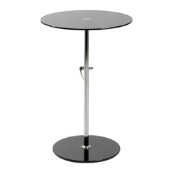 Euro Style - Radinka Side Table - Black Printed Glass/Stainless Steel - Radinka tabletops and bases are strong, tempered glass. The bases and tops come in matching colors from virtually clear to a rainbow of translucent shades.
