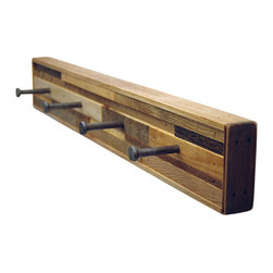 Six Finger Studios - 4 Hook Coat Rack Recycled Wood (Kubala Style), 4 Hook - 4 Hook Coat Rack Recycled Wood (Made to Order)