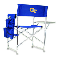 """Picnic Time - Georgia Tech Sports Chair in Navy - The Sports Chair by Picnic Time is the ultimate spectator chair! It's a lightweight, portable folding chair with a sturdy aluminum frame that has an adjustable shoulder strap for easy carrying. If you prefer not to use the shoulder strap, the chair also has two sturdy webbing handles that come into view when the chair is folded. The extra-wide seat (19.5"""") is made of durable 600D polyester with padding for extra comfort. The armrests are also padded for optimal comfort. On the side of the chair is a 600D polyester accessories panel that includes a variety of pockets to hold such items as your cell phone, sunglasses, magazines, or a scorekeeper's pad. It also includes an insulated bottled beverage pouch and a zippered security pocket to keep valuables out of plain view. A convenient side table folds out to hold food or drinks (up to 10 lbs.). Maximum weight capacity for the chair is 300 lbs. The Sports Chair makes a perfect gift for those who enjoy spectator sports, RVing, and camping.; College Name: Georgia Tech; Mascot: Yellow Jackets; Decoration: Embroidered; Includes: 1 detachable polyester armrest caddy with a variety of storage pockets designed to hold the accessories you use most"""